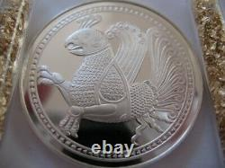 26 Grams. 925 Silver Rare Franklin Mint Proof Persian Simurgh Good Luck Coin+gold