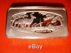 4 Franklin Mint Sterling Silver Christmas Ingots, 1973,1974,1975,1976
