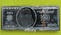 4 Ounce Oz. 999 Silver Bar 2004 Ben Franklin Proof $100 Bill in Plastic Case