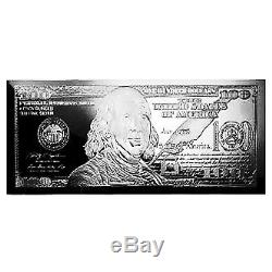 4 Ounce oz. 999 Silver Bar $100 Franklin Bill Design Includes Box and COA
