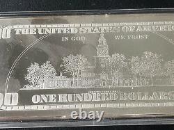 4 oz. 999 Silver Bar Ben Franklin $100 Bill Proof 2000 Dated in Plastic Holder