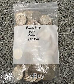 $50 Face Value 90% Franklin Half Dollar 1948-1963 Average Circ