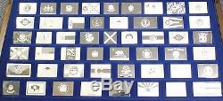 50 State Flags Silver Art Medal Set ingot Bar Collection Franklin Mint JR632