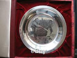 6 Oz. 925 Sterling Norman Rockwell Christmas Plate 1973 Trimming The Tree