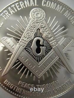 7/8-oz President Franklin D. Roosevelt Freemason Masonic Coin Silver. 925 + Gold