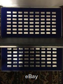 7 Franklin Mint Silver Sets (Cars Stamps Locomotives Ships)