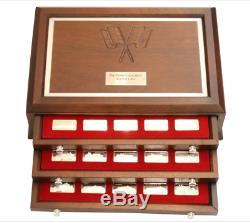 925 Silver Franklin Mint 75 Piece Racing Cars Ingot Set withMahogany Collector Box