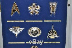 925 Silver Official Star Trek Insignia Badges Set 12 Pieces 1992 Franklin Mint