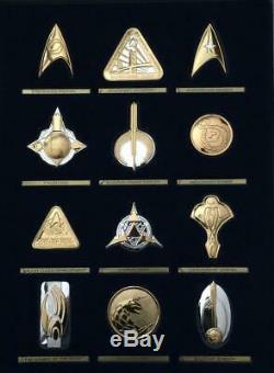925 Silver Official Star Trek Insignia Badges Set of 12 with Case Franklin Mint