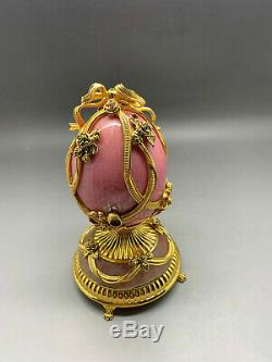 Authentic Russian Fabergé Pink Enamel Gilded Sterling Silver Egg Franklin Mint