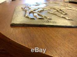 BJstamps Franklin Mint Gilroy Roberts massive silver sculpture HORSES, COA'69
