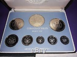 Belize Rare 1982 Franklin Mint Sterling Silver Proof Set Mintage only 200 Rare