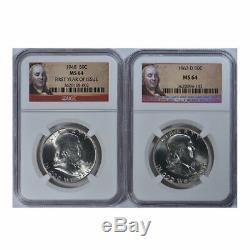 Benjamin Franklin Half Dollar Complete 35 Coin Set NGC MS64