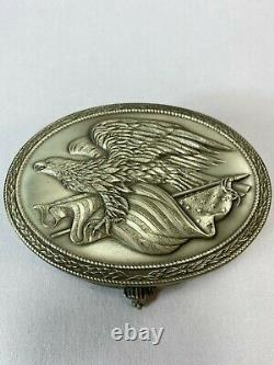 C1976 Franklin Mint Sterling Silver The American Freedom Lined Table Box 366g
