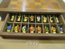 Camelot Chess Set 995 Silver 24 K Gold Plated Early Franklin Mint Ltd. Ed. MINT