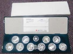 Canada 1988 Olympic Winter Games 10 Silver Coin Set With Green Case