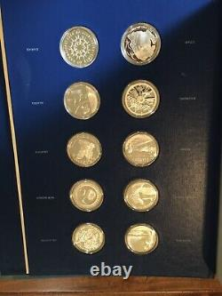 Complete Franklin Mint 50 State Bicentennial Sterling Silver Medal Collection
