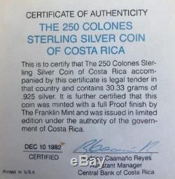 Costa Rica JAGUAR 1982 Silver 250 COLONES FRANKLIN MINT, ORIGINAL PACKAGE