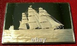 Currier & Ives Clipper Ship Ingot 2.75 oz. 999 Silver by Franklin Mint