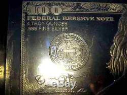 DISCOUNTED 2020 FRANKLIN $100 4 oz. 999 CURRENCY SILVER BAR + COA IMPERFECTION