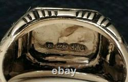 Estate Sterling Silver Franklin Mint Signed Turquoise/ Black Onyx Ring 2 Sizes