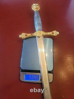 Excalibur Sword Franklin Mint Silver & Gold 24K Plated 1988 King Arthur UNBOXED