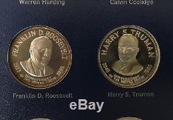 FRANKLIN MINT 1970 Set Of 36 Presidents STERLING SILVER COMPLETE SET ALBUM & COA