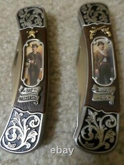 FRANKLIN MINT Legends of the West 6 Collector's Knife Set With Display Case