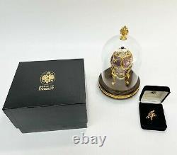 Faberge Egg Franklin Mint Violets in the Snow Sterling Silver Enamel Diamond