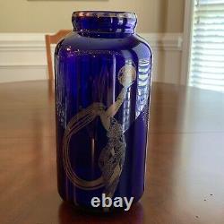 Fireflies by Erte, Art Deco Silver on Cobalt Glass Vase, Franklin Mint