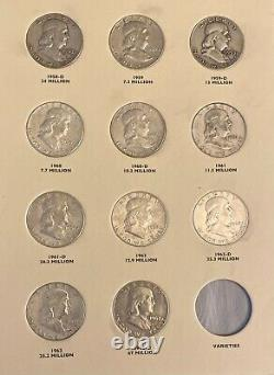 Franklin Half Silver Dollar Complete Set (1948-1963) 35 Coins Free Shipping