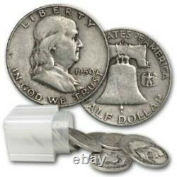 Franklin Halves 90% Silver 20 Coin Roll $10 Average Circulated