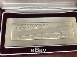 Franklin Mint 1000 GRAMS Sterling Silver Bar NOV 14, 1972 NYSE RARE