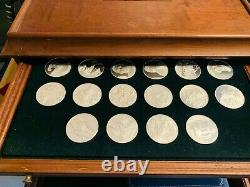 Franklin Mint 100 Greatest Masterpieces Sterling Silver Coins and Wood Chest