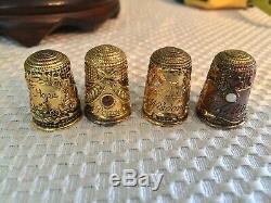 Franklin Mint 12 Piece Victorian Jeweled Thimble Set