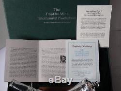 Franklin Mint 1776-1976 STERLING SILVER POWDERHORN Gun War + Baccarat Crystal