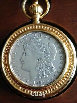Franklin Mint 1921 Morgan Silver Pocket Watch w Glass & Cherry Wood Case