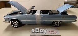Franklin Mint 1963 Chevrolet Impala SS 409 Convertible 124 diecast, Silver Blue