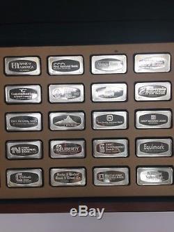 Franklin Mint 1971 Proof Set of 50 bank marked Sterling Silver Ingots