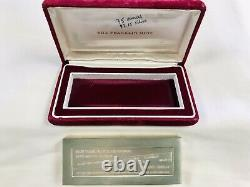 Franklin Mint 1972 Sterling Silver NYSE BarFirst Time Dow Jones Closed 1000Pts