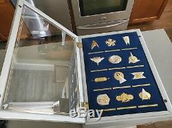 Franklin Mint 1992 Star Trek Insignia Badge Set (12) In Display Case. 925 Silver