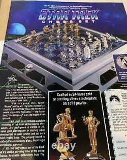 Franklin Mint 25th Anniversary Star Trek Gold & Silver Chess Set 1992