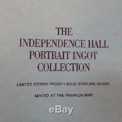 Franklin Mint 26 Oz Independence Hall Portrait Ingot Collection STERLING SILVER