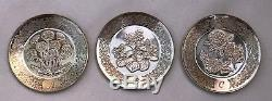 Franklin Mint 26 Sterling Silver Alphabet Floral Mini Plates with Display & COA