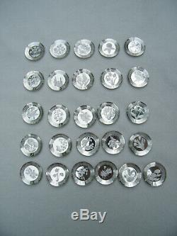 Franklin Mint 26 Sterling Silver FLORAL ALPHABET Mini Plates + Wood Shelf & COA