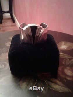 Franklin Mint Alfred Durante Sterling Silver Onyx Cuff Bracelet 1986