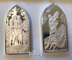 Franklin Mint Books Of The Bible Sterling Silver Ingot Medals- Five(5) Pieces
