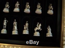 Franklin Mint CIVIL War Chess Set Early Edition In Box Gold & Silver Plated