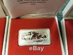 Franklin Mint Christmas Ingots 1971-79 Silver bars estate collection