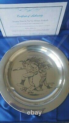Franklin Mint Christmas plate, sterling silver, new in box, Norman Rockwell